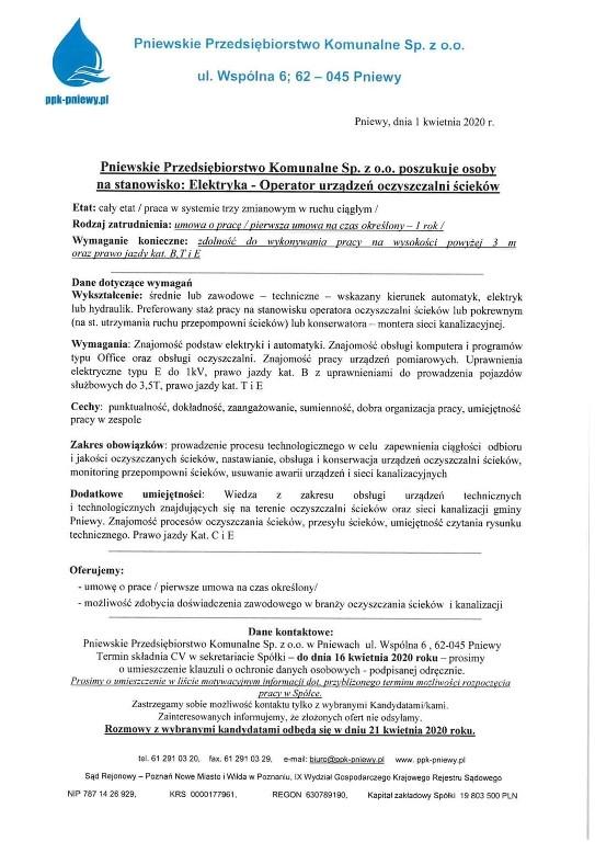 Praca wPPK Pniewy dla Elektryka – operatora urządzeń oczyszczalni