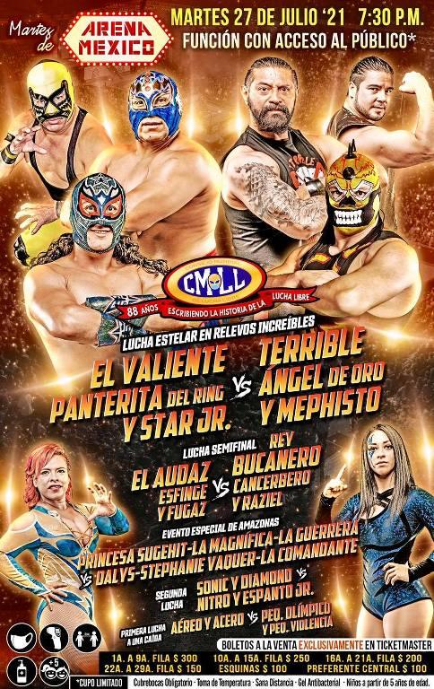 Cartelera lucha libre CMLL del Martes 27 de Julio del 2021