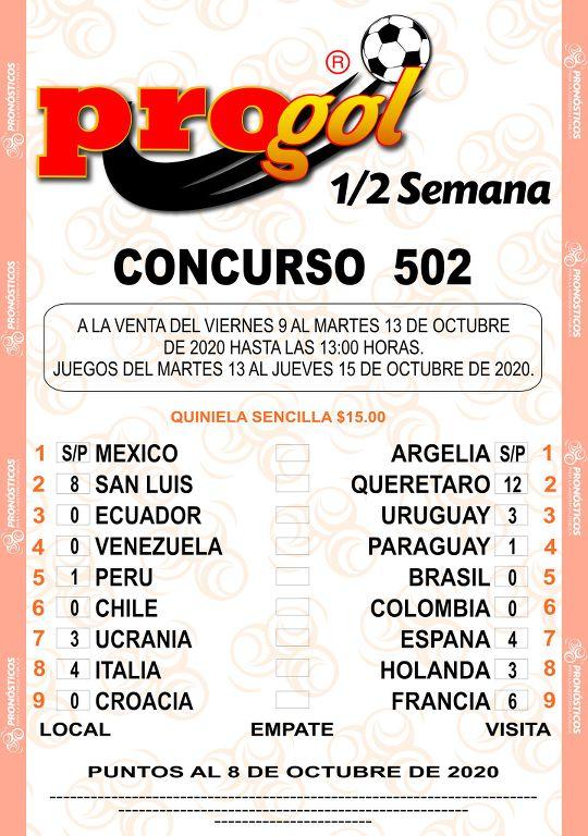 Quiniela Progol Media Semana del concurso 502