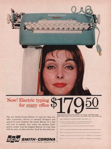 1961 Smith Corona Typewriter Double Offer Vintage Print Ad
