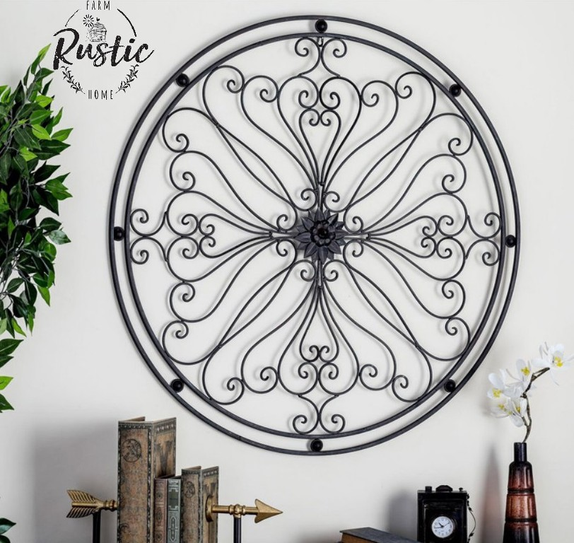 Large Round Wrought Iron Wall Decor Rustic Classic Scroll | eBay