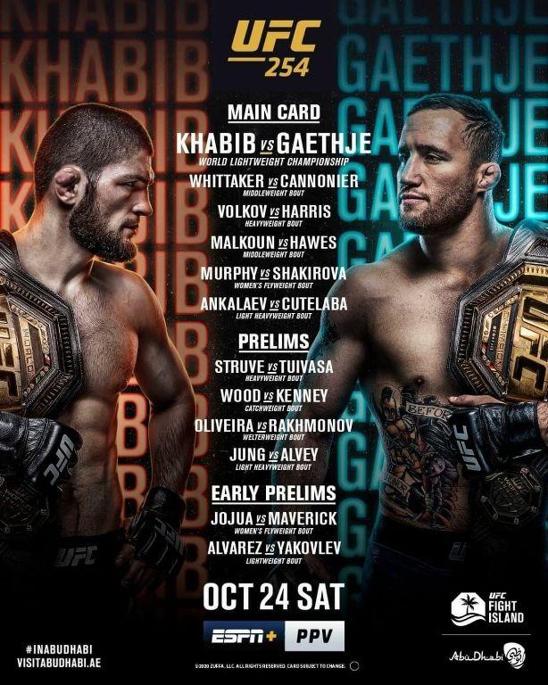 Cartelera Estelar del UFC 254