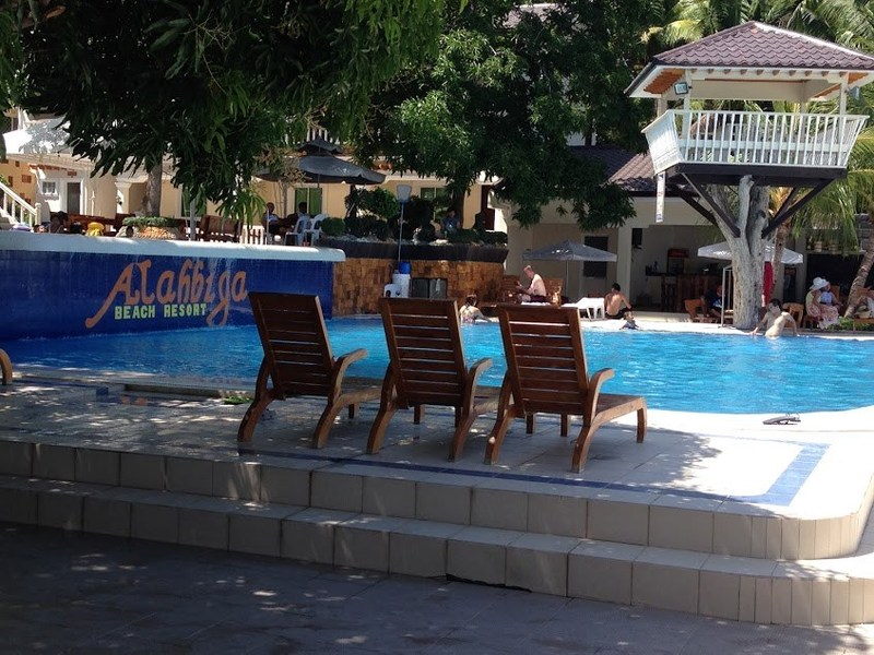 One of the two swimming pools at the resort