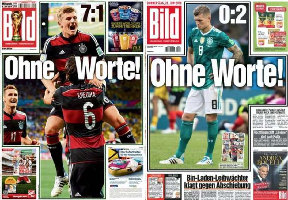 Ohne Worte! Bild Tabloid Deutschland Germany World Cup 2014 7X1 Brazil 2018 0X2 South Korea