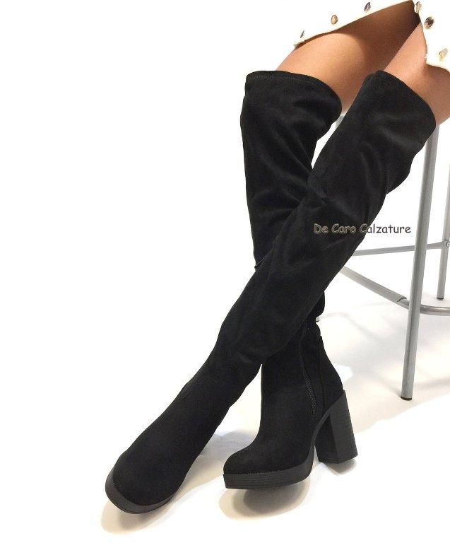 Stivali sopra il ginocchio overknee in camoscio tacco alto 9 E9