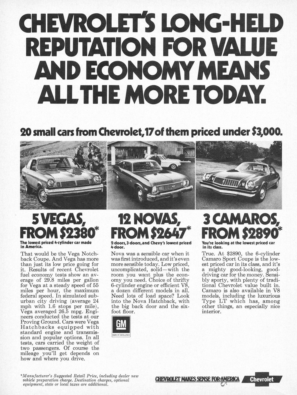 Chevrolet's long-held reputation for value and economy means all the more today. 20 small cars from Chevrolet, 17 of them priced under $3,000.  5 VEGAS, FROM 52380*  The lowest priced 4•cylinder car made in America. That would be the Vega Notch-back Coupe. And Vega has more than just its low price going for it. Results of recent Chevrolet fuel economy tests show an av-erage of 29.8 miles per gallon for Vega at a steady speed of 55 miles per hour, the maximum federal. speed. In simulated sub-urban city driving (average 24 mph with 1.6 stops per mile), Vega averaged 26.5 mpg. Engi-neers conducted the tests at our Proving Ground. Cars were Vega Hatchbacks equipped with standard engine and transmis-sion and popular options. In all tests, cars carried the weight of two passengers. Of course the mileage you'll get depends on how and where you drive.  12 NOVAS, FROM $2647*  2 doors,3•doors,and Chevy's lowest priced 4•door. Nova was a sensible car when it was first introduced, and it's even more sensible today. Low priced, uncomplicated, solid—with the room you want plus the econ-omy you need. Choice of thrifty 6-cylinder engine or efficient V8, a dozen different models in all. Need lots of load space? Look into the Nova Hatchback, with the big back door and the six-foot floor.  GM   *Manufacturer's Suggested Retail Price, including dealer new vehicle preparation charge. Destination charges, optional equipment, state or local taxes are additional.  3 CAMAROS, FROM 52890*  You're looking at the lowest priced car in its class. True. At $2890, the 6-cylinder Camaro Sport Coupe is the low-est priced car in its class, and it's a mighty good-looking, good-driving car for the money. Sensi-bly sporty, with plenty of tradi-tional Chevrolet value built in. Camaro is also available in V8 models, including the luxurious Type LT which has, among other things, an especially nice interior.  CHEVROLET MAKES SEW FOR!IERSCA