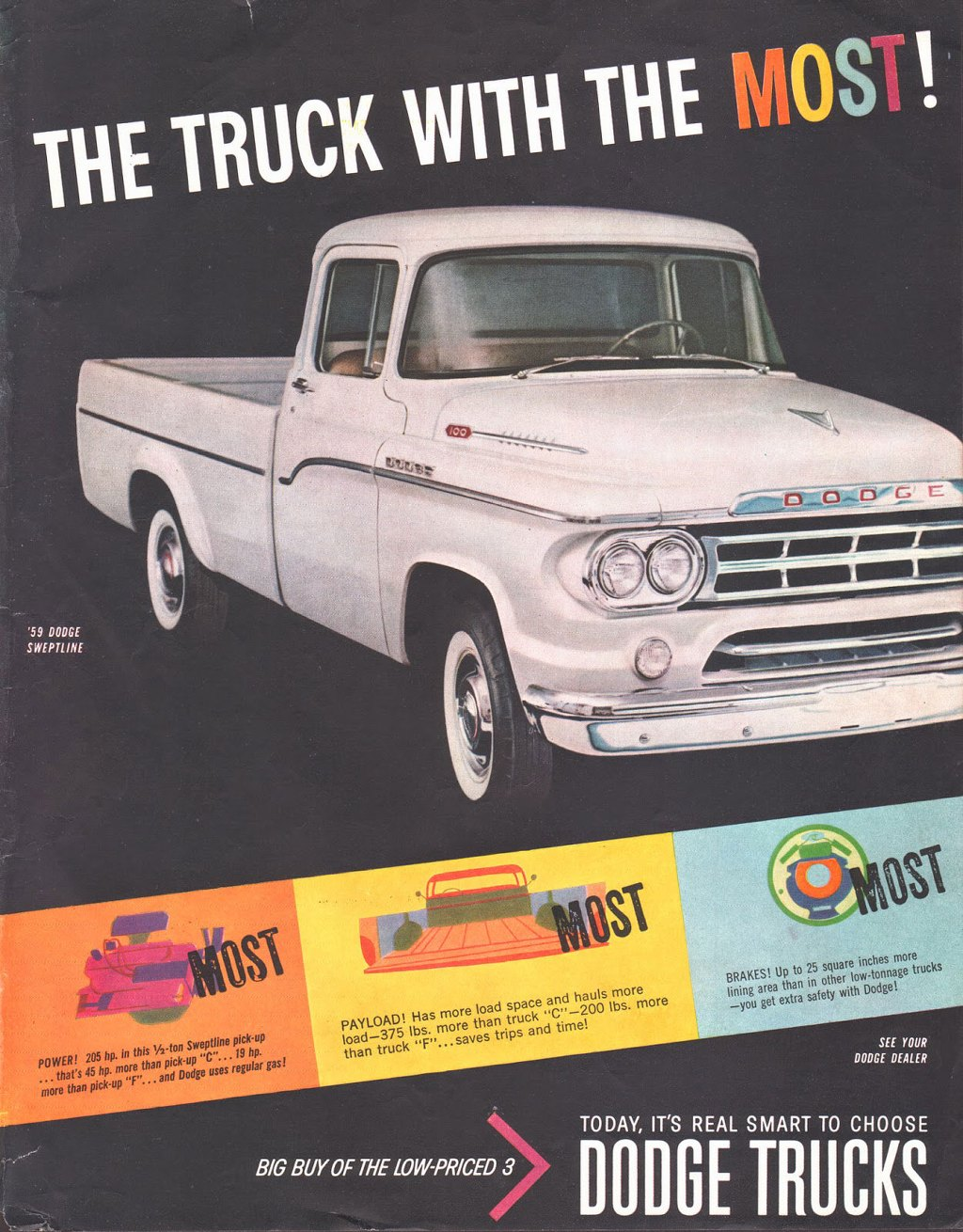 '59 DODGE SWEPTLINE   St   POWER! 205 hp• in this 1/2-ton Sweptline pick-up . that's 45 hp• more than pick-up ''C''... 19 hp• more than pick-up ''F''... and Dodge uses regular gas!  PAYLOAD! Has more load space and hauls more load-375 lbs. more than truck ''C'' —200 lbs. more than truck ''F'' • •• saves trips and time!   BRAKES! Up to 25 square inches me,erucks lining area than in other low-tonnagdge! mere rucks get extra salety with Do  SEE YOUR DODGE DEALER  BIG BUY OF THE LOW-PRICED 3   TODAY, IT'S REAL SMART TO CHOOSE  DODGE TRUCKS