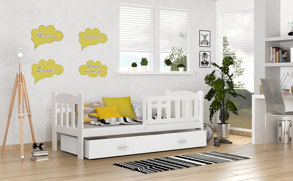 kinderbett jugendbett 7 farben bett 70x160 schublade lattenrost matratze ebay. Black Bedroom Furniture Sets. Home Design Ideas