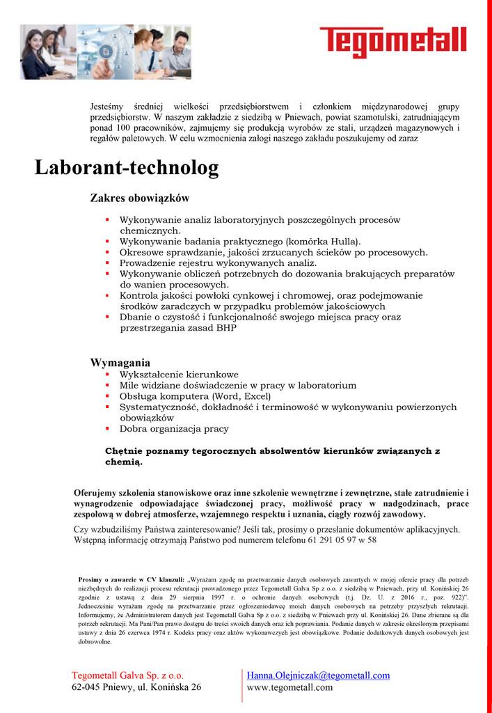 Praca dla laboranta – technologa