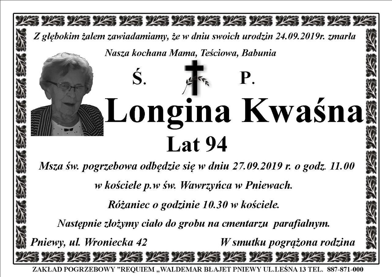 Żyli wśród nas – Longina Kwaśna