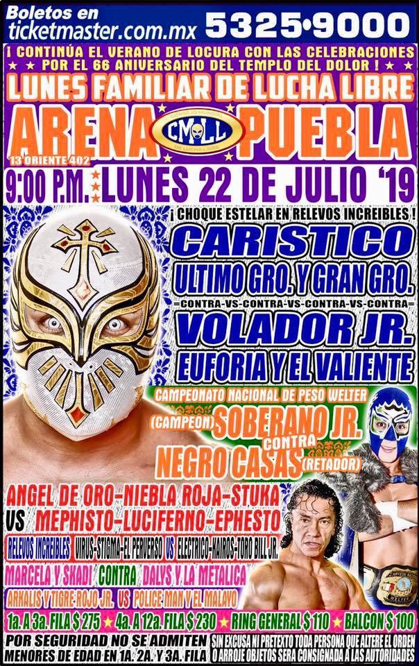 Lucha Libre CMLL desde la Arena Puebla en Vivo - Lunes 22 de Julio del 2019