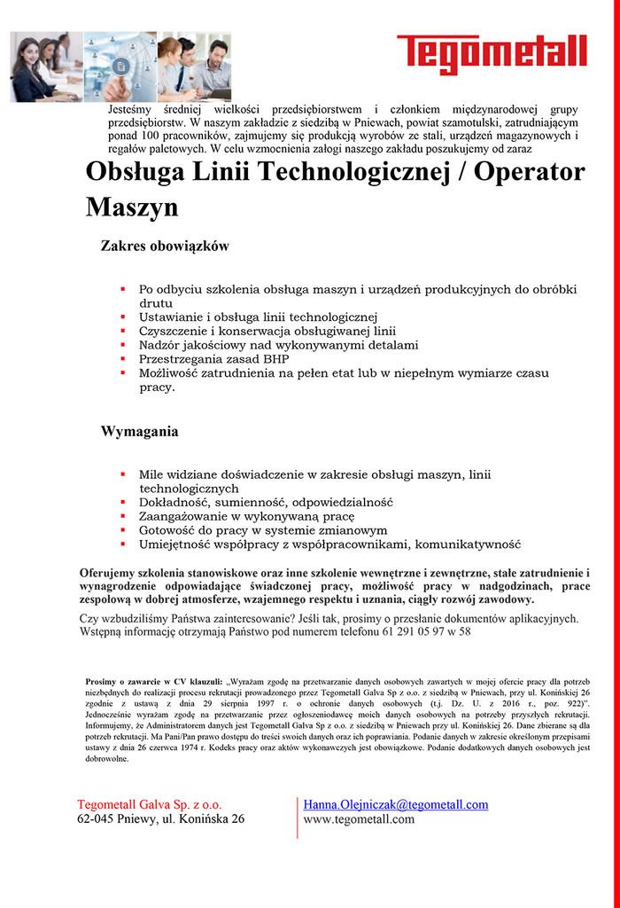 Praca doObsługi Linii Technologicznej / Operator Maszyn