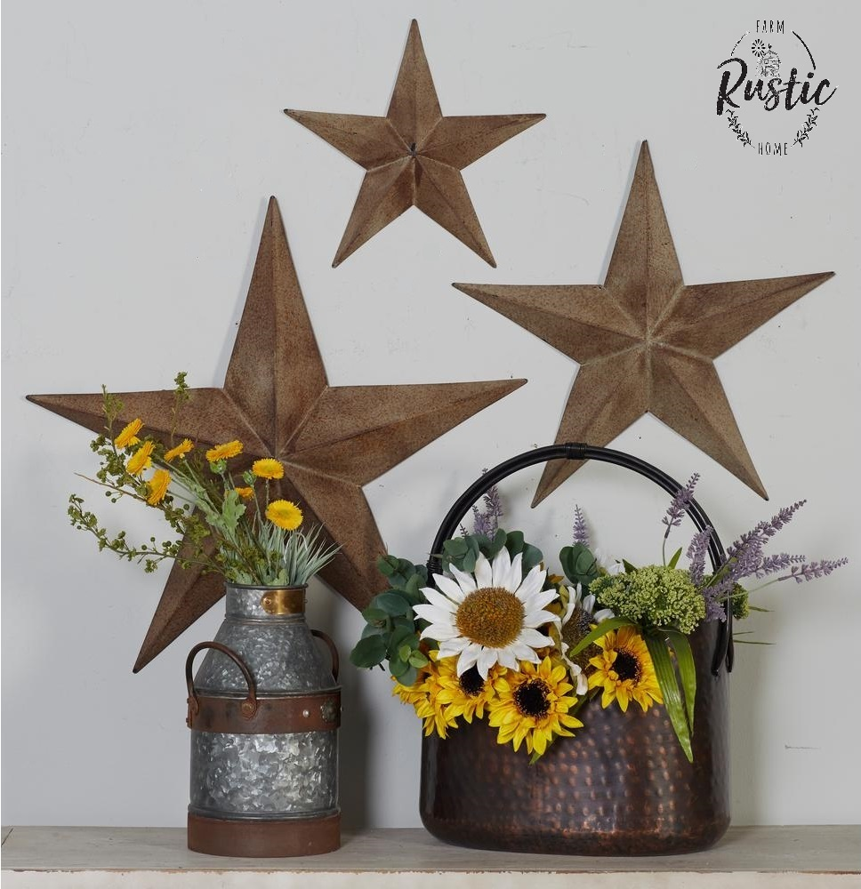 Rustic Home Furnishings And Mexican Garden Decorations By: Rustic Metal Star Set Barn Antique Vintage Texas Tin Wall
