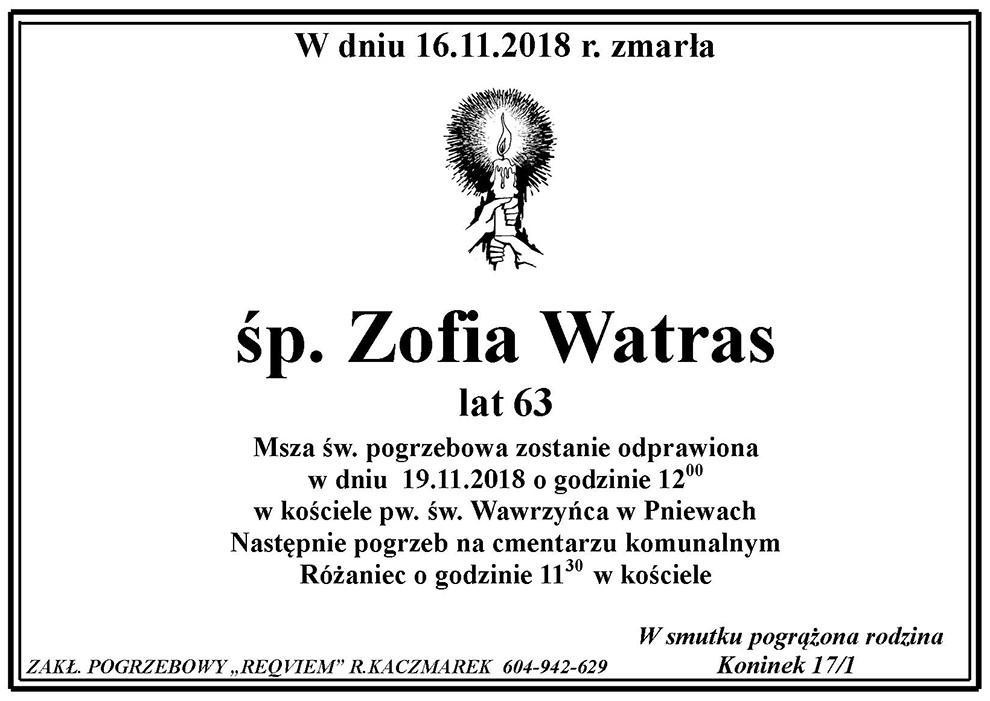 Żyli wśród nas – Zofia Watras