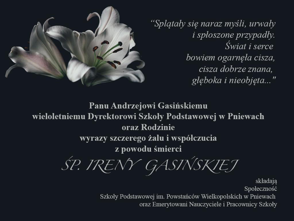 Żyli wśród nas – Irena Gasińska – kondolencje