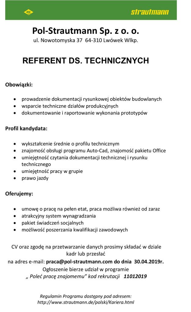 Praca dla referenta ds.technicznych