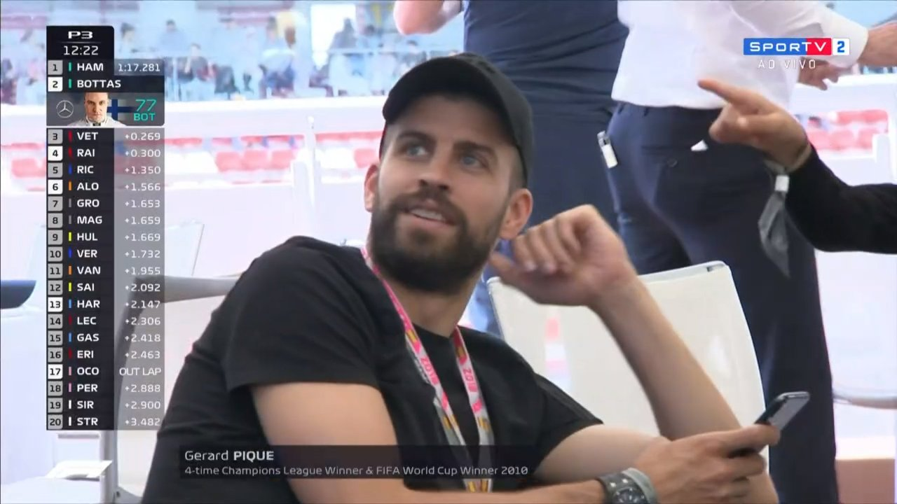 F1 2018 Spanish GP Gerard Piqué, 4-time UEFA Champions League Winner & FIFA World Cup Winner 2010, but he is most known as Shakira's husband.