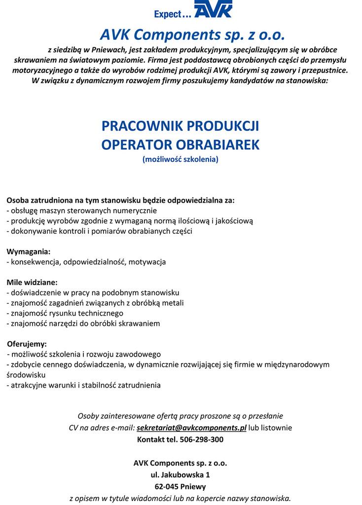 Praca dla operatora obrabiarek
