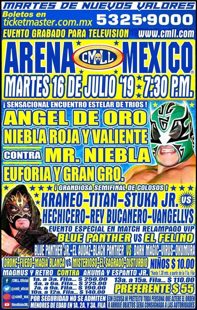 Lucha Libre CMLL desde la Arena Puebla en Vivo - Martes 16 de Julio del 2019
