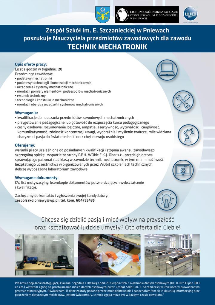 Praca dla nauczyciela przedmiotów zawodowych (dla zawodu technik mechatronik)