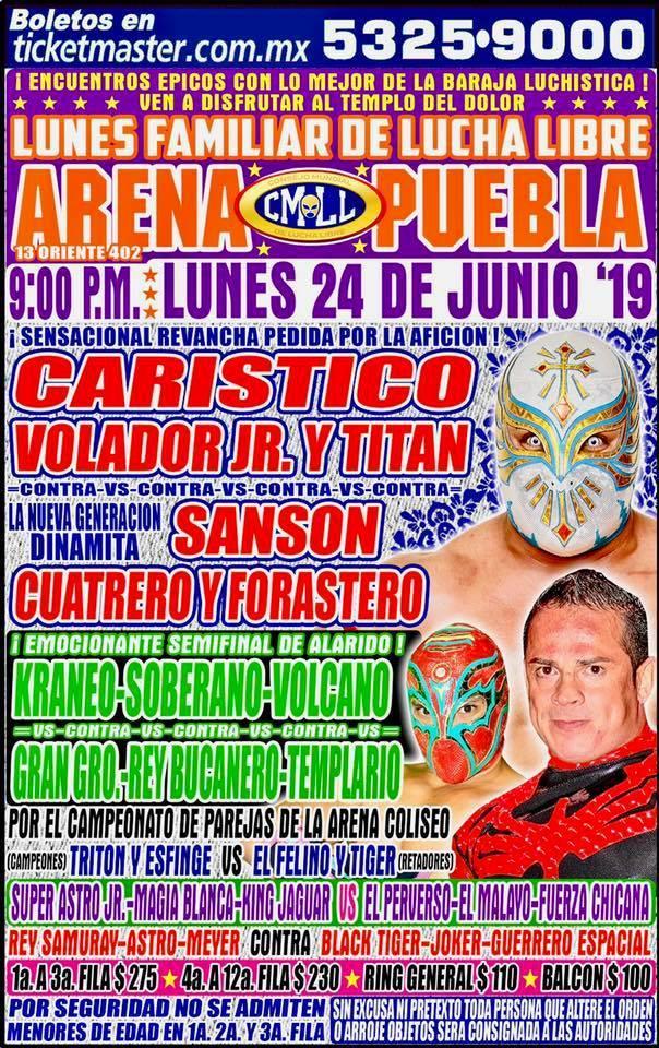 Lucha Libre CMLL desde la Arena Puebla en Vivo - Lunes 24 de Junio del 2019