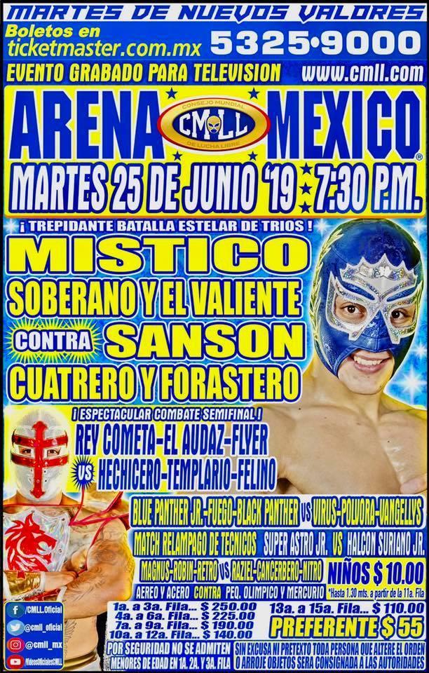 Lucha Libre CMLL desde la Arena Puebla en Vivo - Martes 25 de Junio del 2019