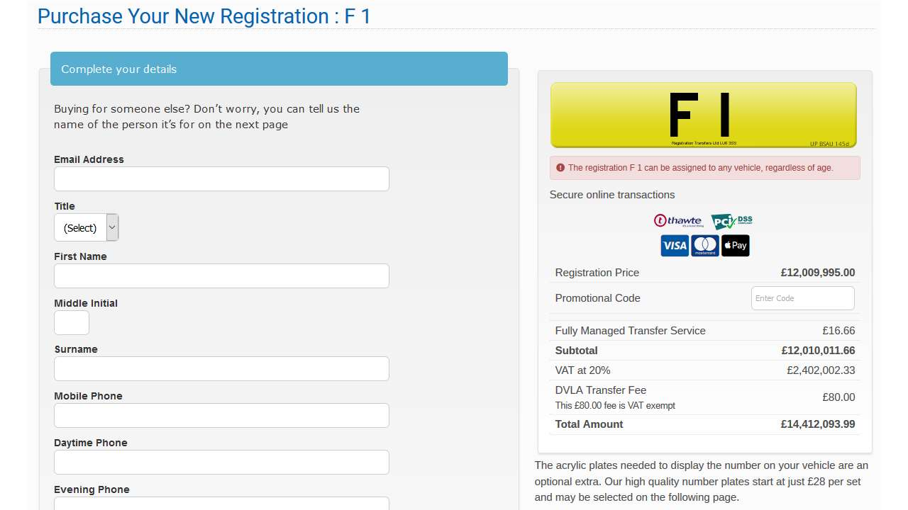 """F1"" car registration plate on sale for 14 million pounds"