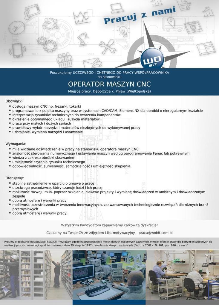 Praca dla operatora maszyn CNC