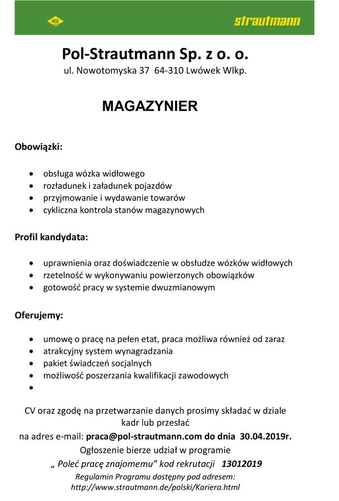 Praca dla magazyniera
