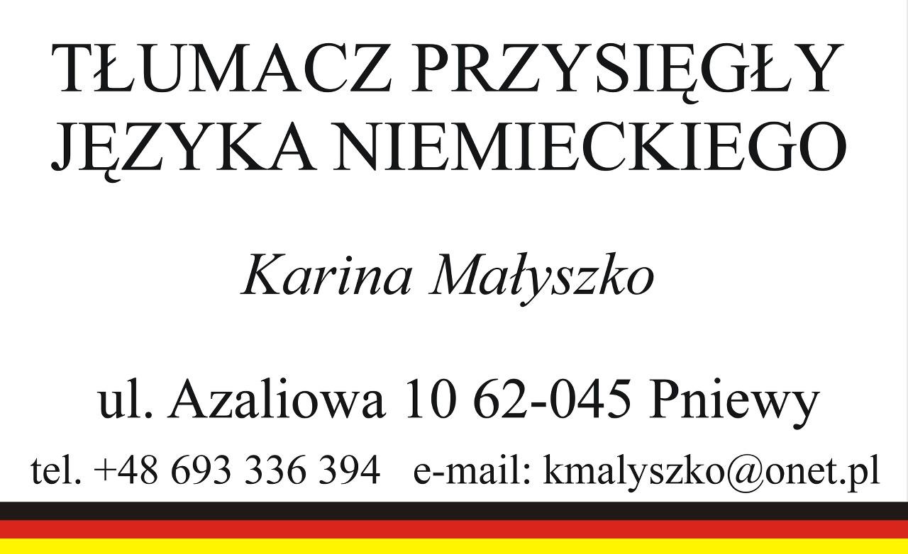 Tłumacz przysięgły języka niemieckiego – Karina Małyszko