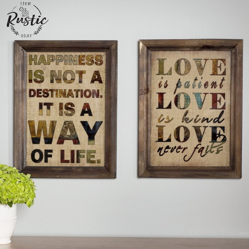 Details About Burlap Wood Frame Wall Decor Antique Vintage Shabby Plaque Chic Love Happiness
