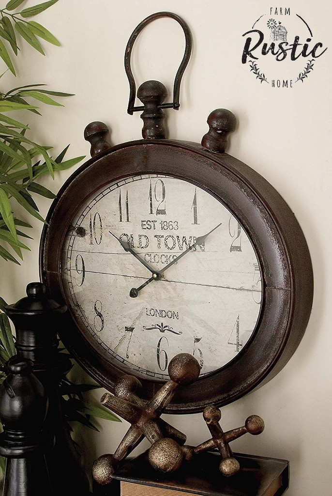 Large Metal Oval Wall Clock Rustic Decor London Industrial
