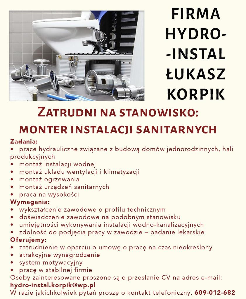 Praca dla montera instalacji sanitarnych