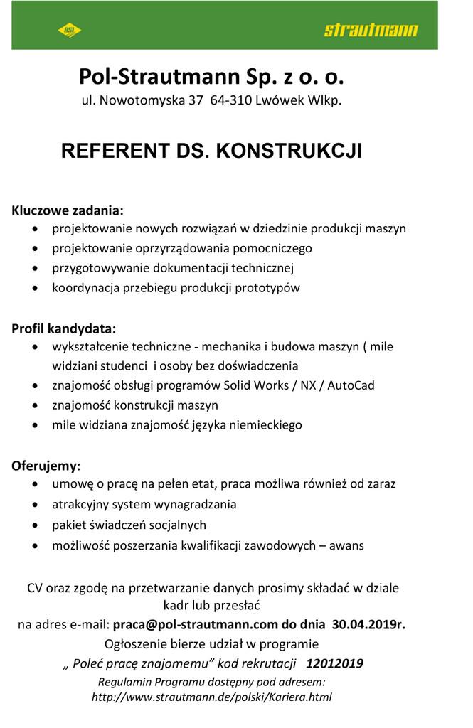 Praca dla referenta ds.konstrukcji