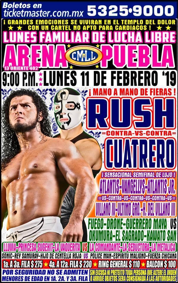 Lucha Libre CMLL desde la Arena Puebla en Vivo - Lunes 11 de Febrero del 2019