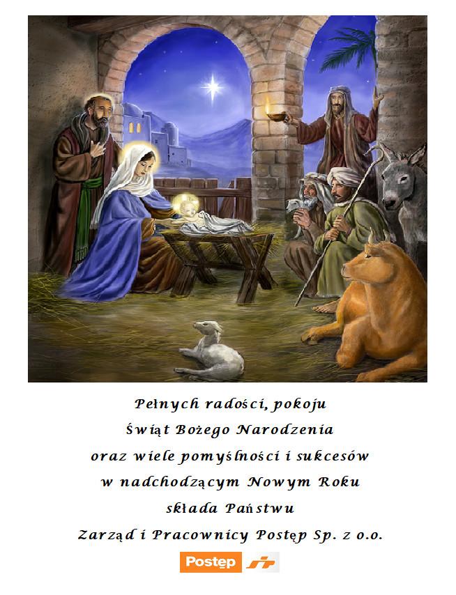 Świąteczne życzenia odfirmy Postęp