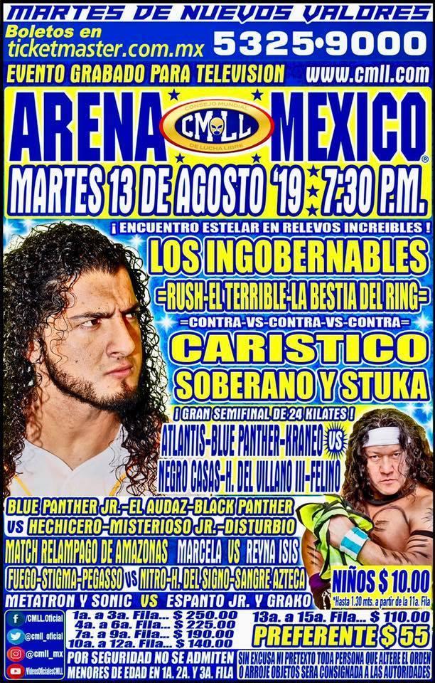 Lucha Libre CMLL desde la Arena Puebla en Vivo - Martes 13 de Agosto del 2019