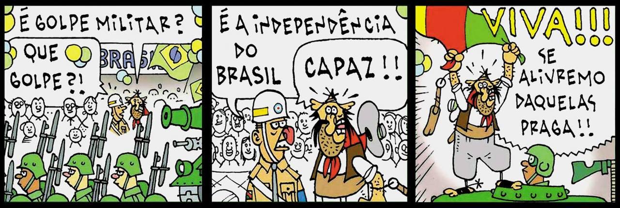 """Tapejara achou que o Desfile da Independência era um golpe militar... """"É golpe militar?"""" """"Que golpe?!"""" """"É a Independência do Brasil."""" """"Capaz!!"""" """"VIVA! Se alivremo daquelas praga!!"""""""