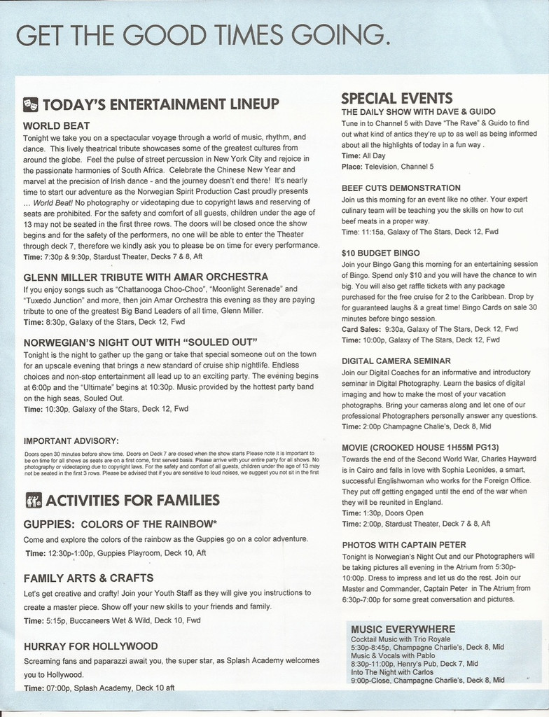 Norwegian Spirit Daily Program