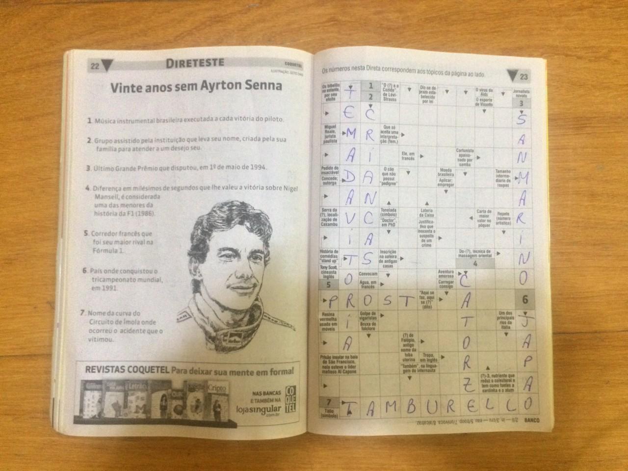 Revista Coquetel Vinte Anos Sem Ayrton Senna Palavras Cruzadas Direteste