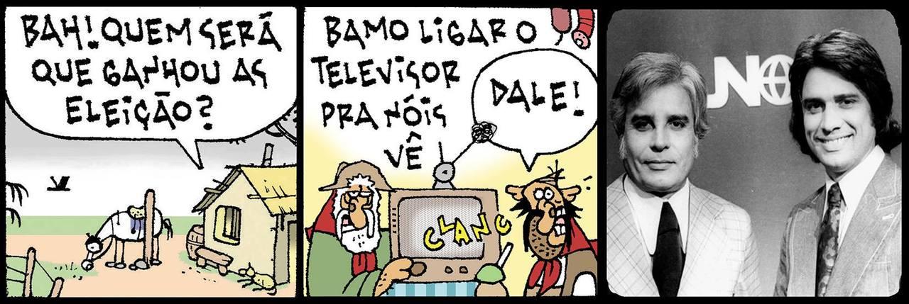 """Tapejara e Gamela ligam a televisão para acompanhar o resultado das Eleições 2018... """"Bah! Quem será que ganhou as eleição?"""" """"Bamo ligar o televisor pra nóis vê."""" """"Dale!"""" Aí aparece o Jornal Nacional da década de 1960 com Cid Moreira e Sergio Chapelin."""
