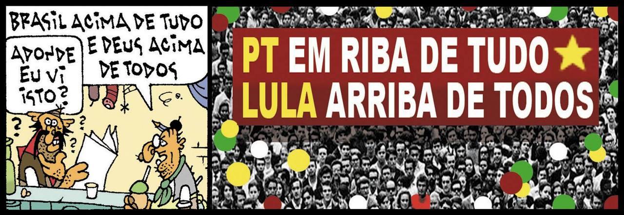 """E se o marqueteiro de Jair Bolsonaro tivesse trabalhado para a campanha de Fernando Haddad? Mulita: """"Brasil acima de tudo e Deus acima de todos"""" Tapejara: """"Adonde eu vi isto?"""" Multidão com faixa: """"PT em riba de tudo, Lula arriba de todos"""""""