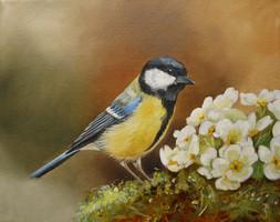 schilderij koolmees dierenschilderij