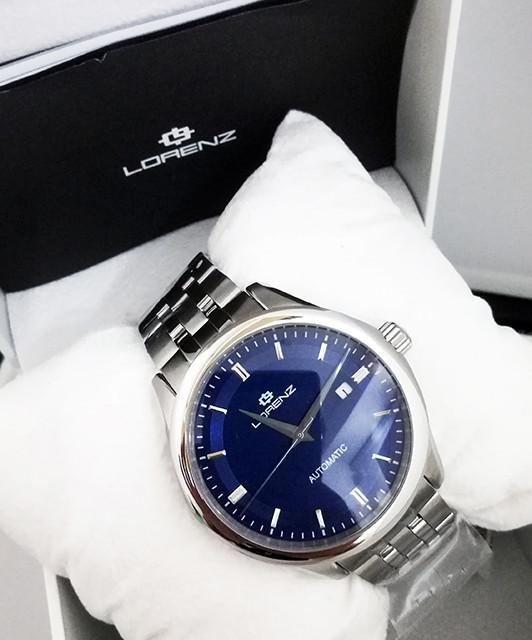 Lorenz Orologio Uomo Automatico Meccanico Miyota 21 Jewels In Acciaio Blu Dial