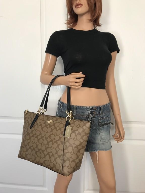 New COACH F23526 AVA Chain Signature Tote Handbag Purse Bag Light Khaki+Wallet