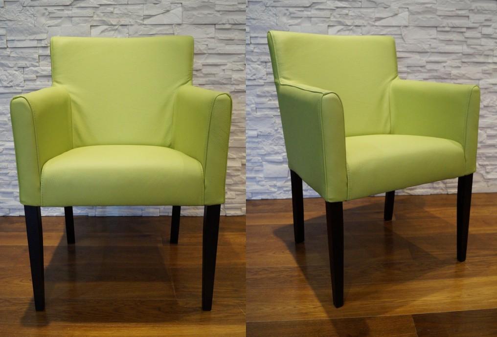 gr n echtleder esszimmerst hle mit armlehnen stuhl sessel esszimmer leder st hle ebay. Black Bedroom Furniture Sets. Home Design Ideas