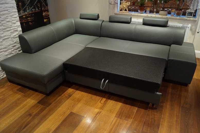 Grau Rindsleder Ecksofa Echt Leder Sofa Eck Couch mit
