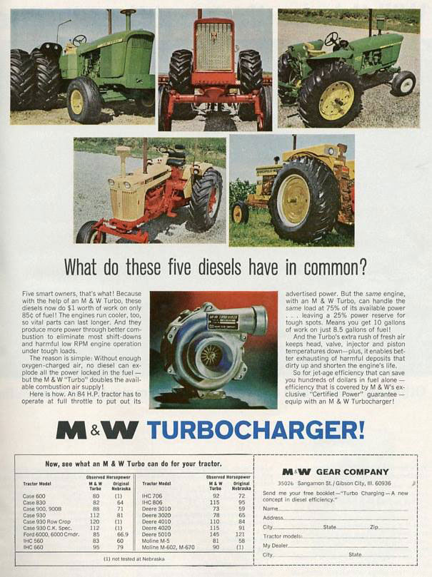 What do these five diesels have in common? The M & W turbocharger!