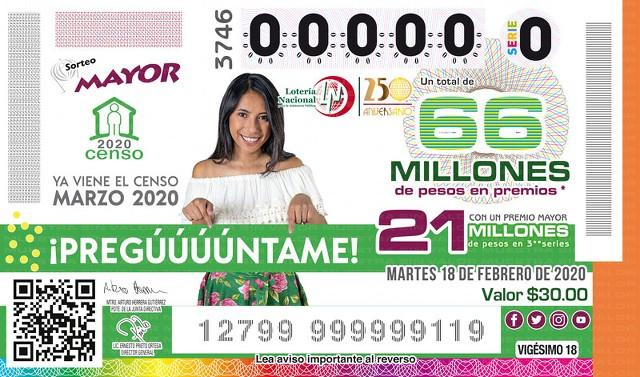Loteria Nacional Sorteo Mayor No. 3746 en Vivo – Martes 18 de Febrero del 2020