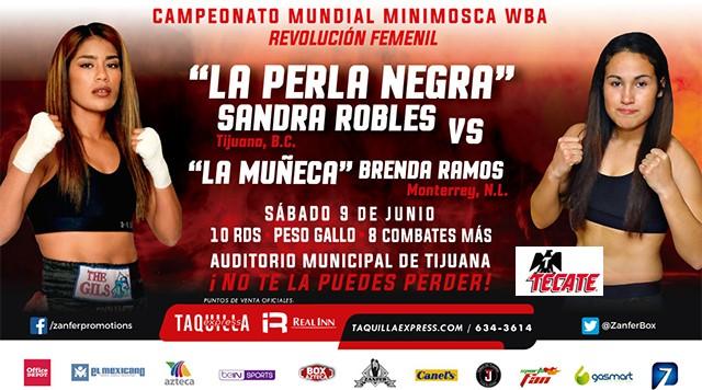 """Sandra """"Perla Negra"""" Robles vs Brenda """"La Muñeca"""" Ramos en Vivo – Box – Sábado 9 de Junio del 2018"""
